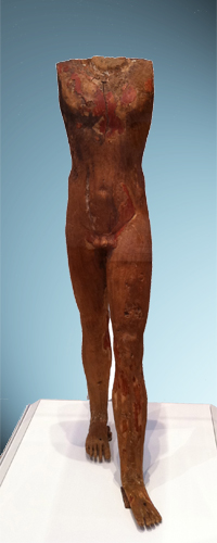 Figure of a Man, Egyptian, Old Kingdom, circa 2494-2345 BCE (wood with traces of gesso and paint) North Carolina Museum of Art