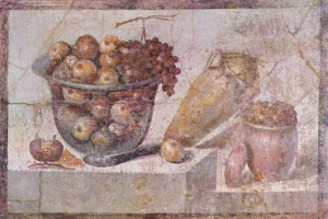 Still life with glass bowl of fruit and vases, Pompeian, 63-79 AD